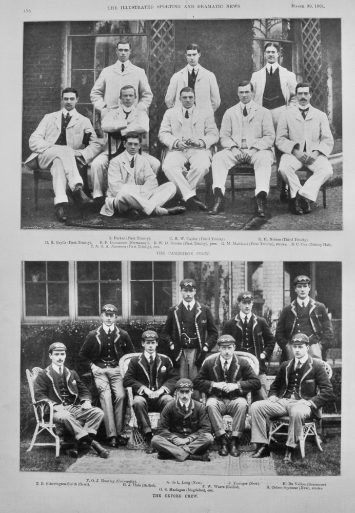 The University Boat Race.   The Cambridge Crew and The Oxford Crew.  1901.