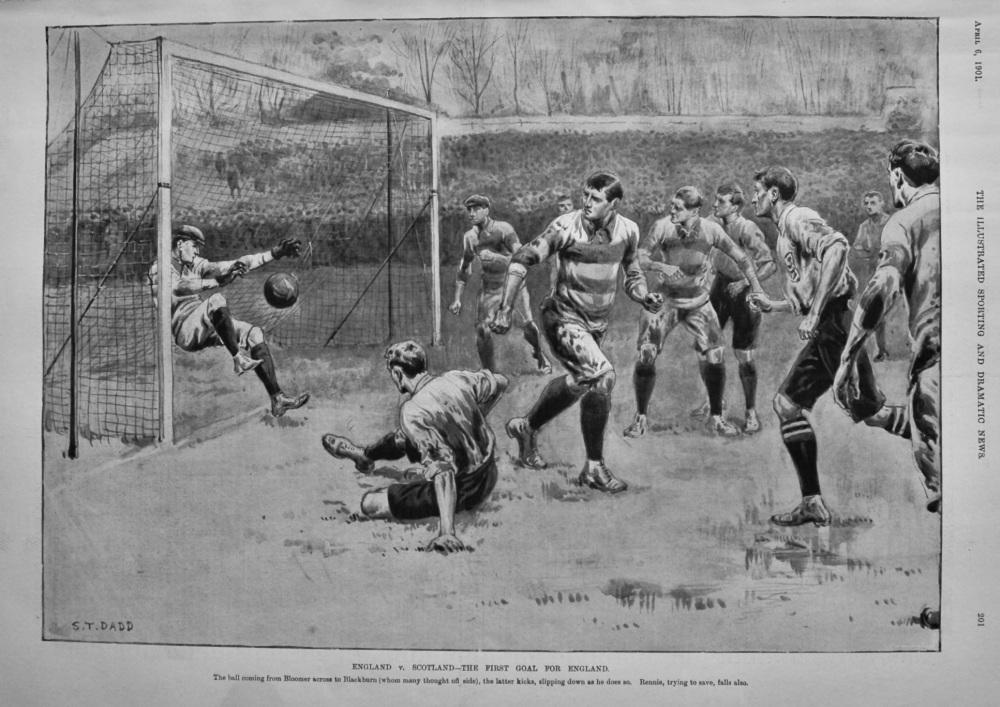 England v. Scotland-The First Goal for England.  1901.
