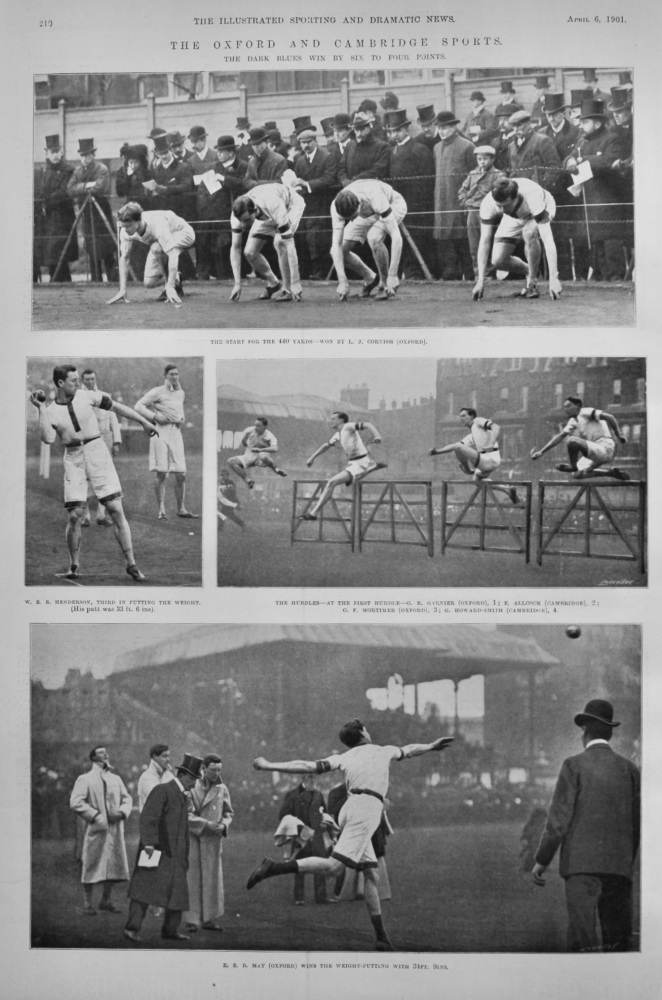 The Oxford and Cambridge Sports.  The Dark Blues win by Six to Four Points.  1901.