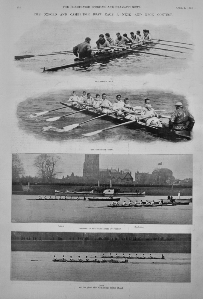 The Oxford Cambridge Boat Race- A Neck and Neck Contest.  1901.