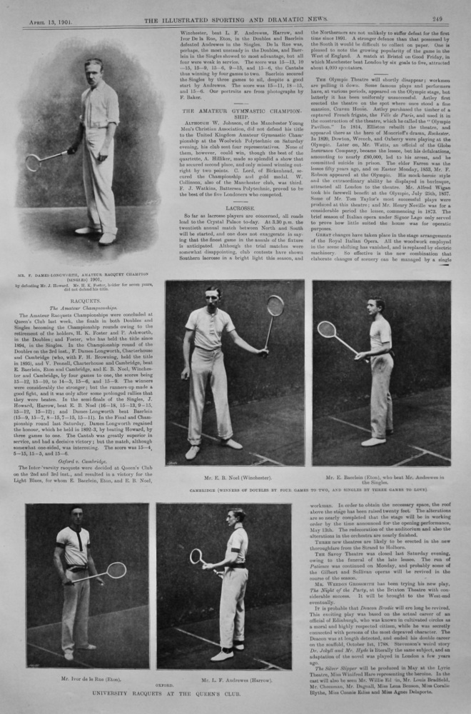Racquets.  1901. (The Amateur Racquets Championships at the Queen's Club.)  1901.
