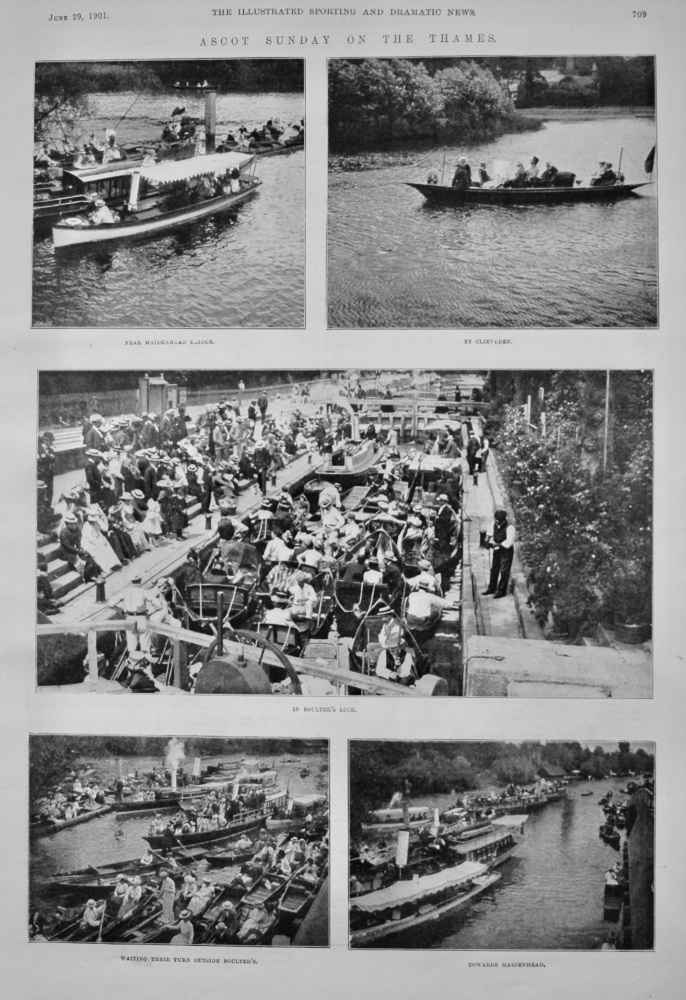 Ascot Sunday on the Thames.  1901.