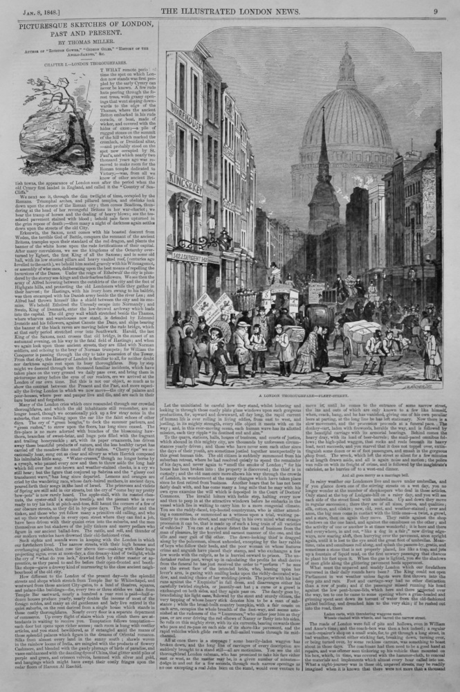 Picturesque Sketches of London. Past and Present. By Thomas Miller : London Thoroughfares.  1848.