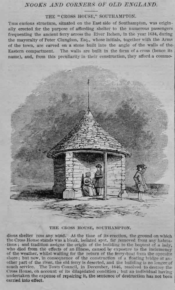"""Nooks and Corners of Old England : The """"Cross House,"""" Southampton.  1848."""