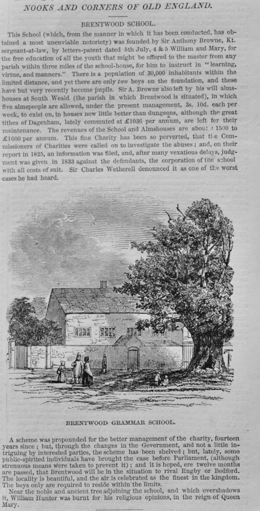 Nooks and Corners of Old England.- Brentwood Grammar School.  1848.