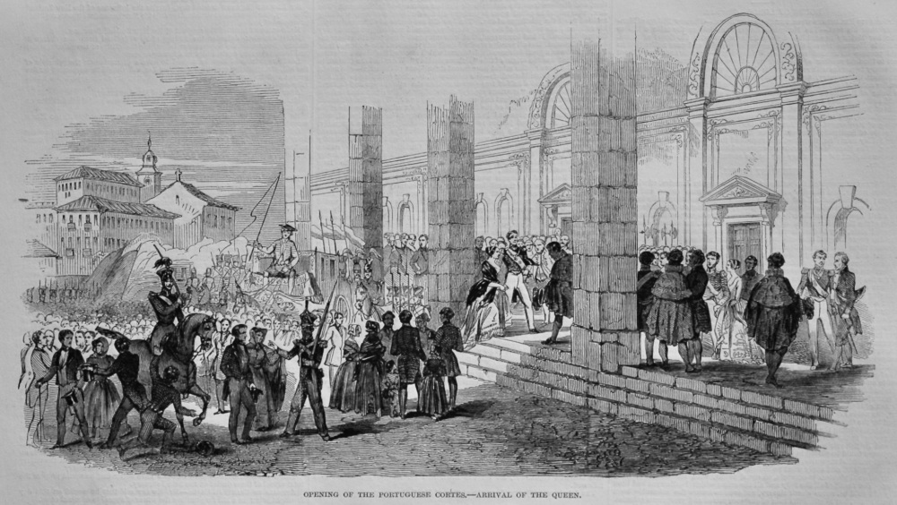 Opening of the Portuguese Cortes.- Arrival of the Queen.  1848.