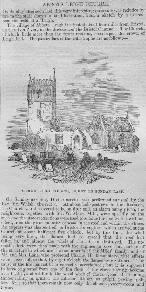 Abbots Leigh Church.  (Burnt Last Sunday)  1848.