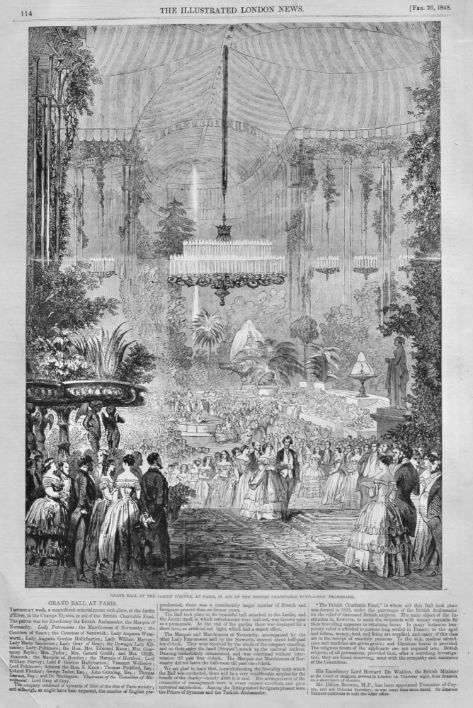 Grand Ball at the Jardin D'Hiver, at Paris, in aid of the British Charitable Fund.- The Promenade.  1848.