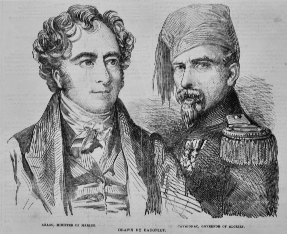 Arago, Minister of Marine.  &  Cavaignac, Minister of Algiers.  (French Revolution)  1848.