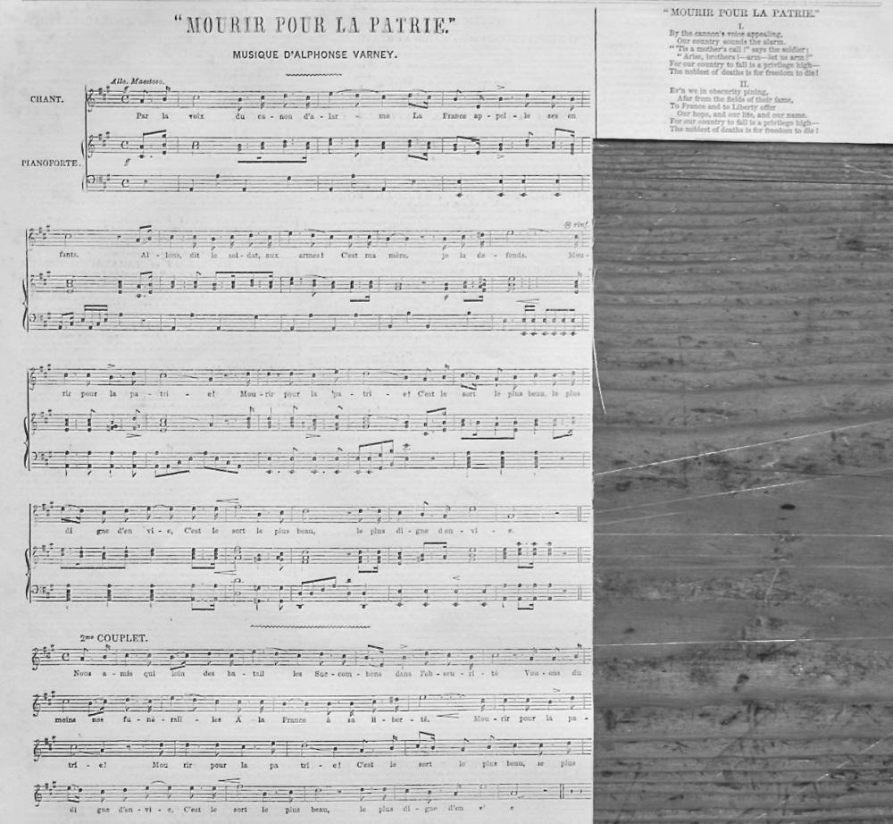 """""""Mourir Pour La Patrie.""""  Musique D'Alphonse Varney.  1848."""