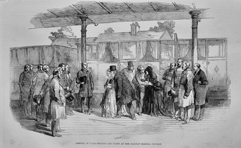 Arrival of Louis Philippe and Party at the Railway Station, Croydon.  (The French Revolution) 1848.