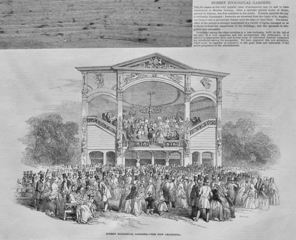 Surrey Zoological Gardens.- The New Orchestra.  1848.