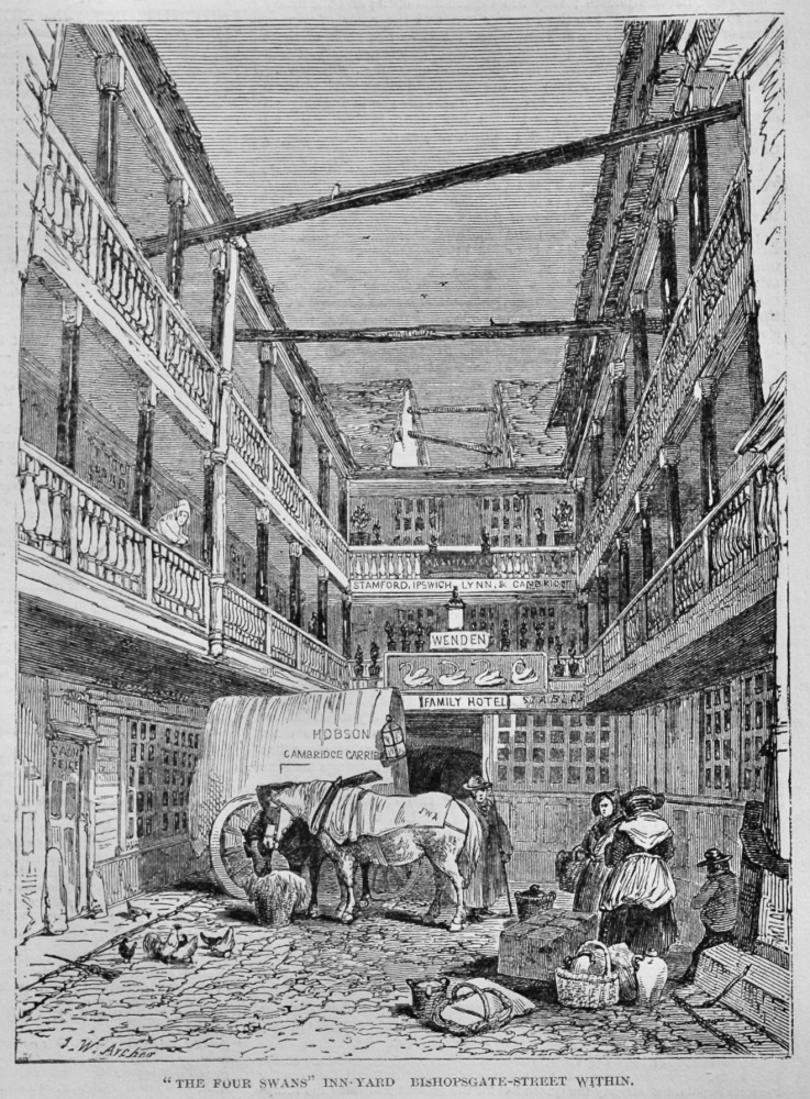 """The Four Swans"" Inn-Yard Bishopsgate-Street within.  1848."