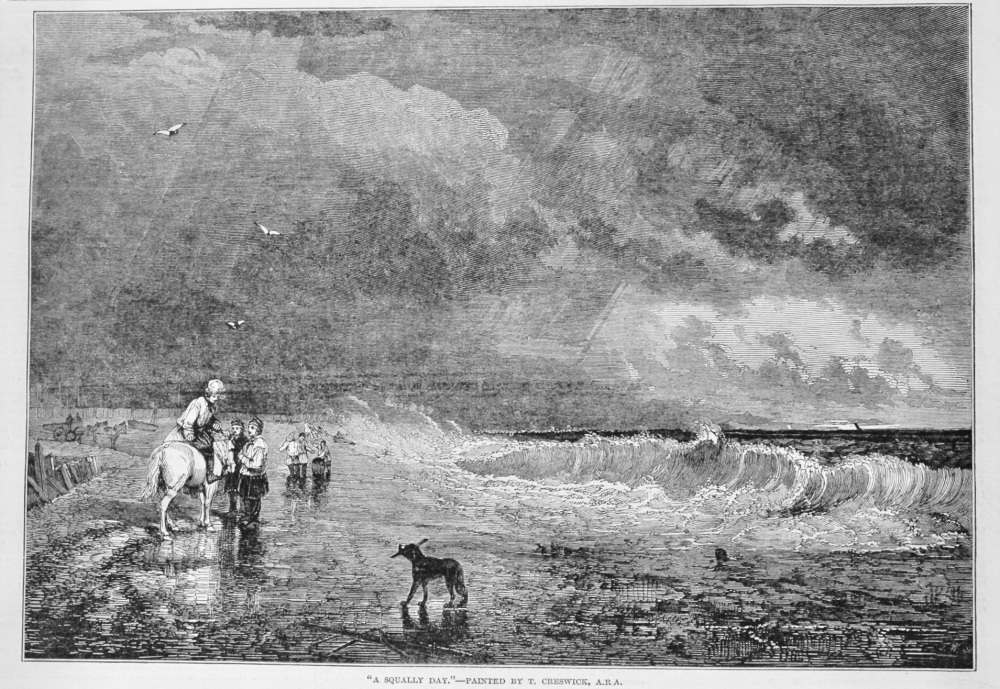 """""""A Squally Day.""""- Painted by T. Creswick, A.R.A.  1848."""