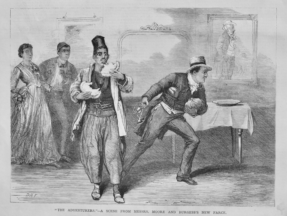 """""""The Adventurers.""""- A Scene from Messrs. Moore and Burgess's New Farce.  1878."""