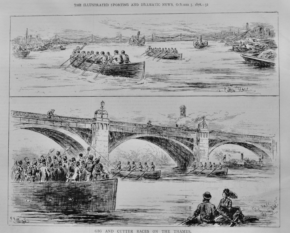 Gig and Cutter Races on the Thames.  1878.