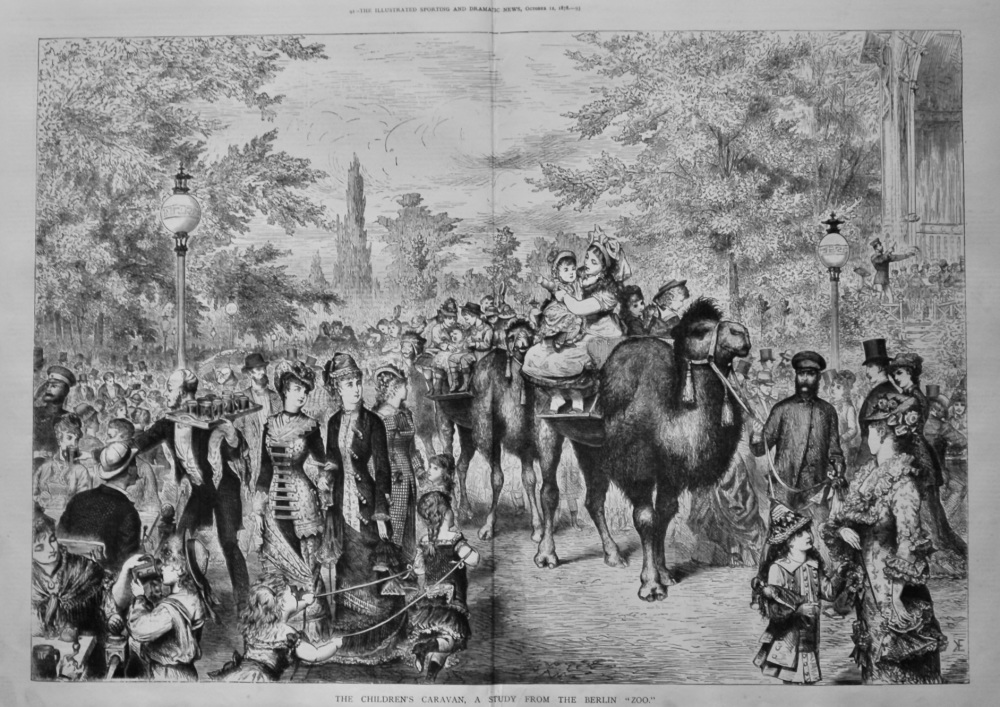"""The Children's Caravan, a Study from the Berlin """"Zoo.""""  1878."""