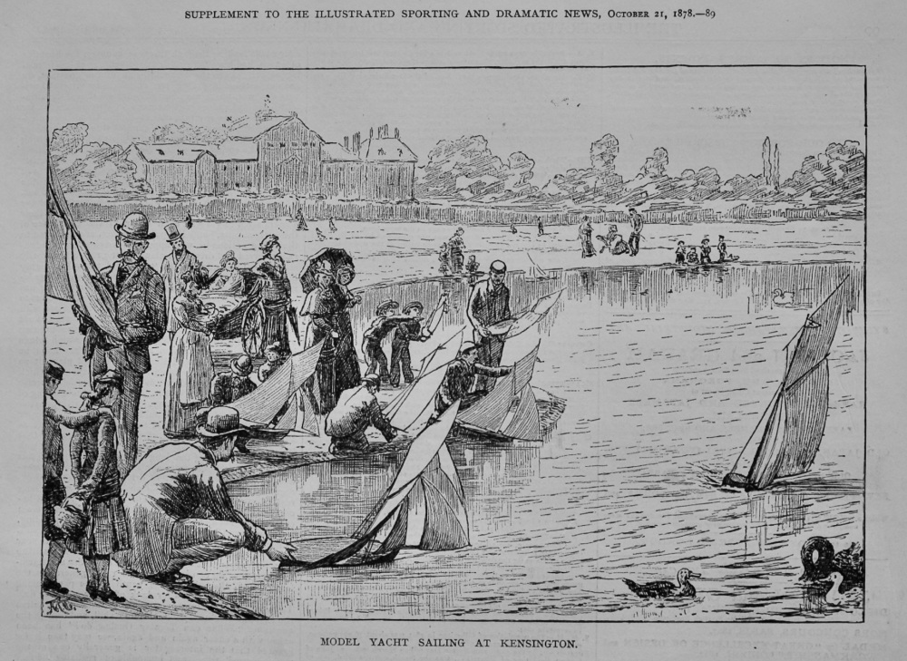 Model Yacht Sailing at Kensington.  1878.