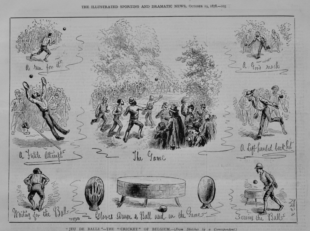 """Jeu De Balle""- The ""Cricket"" of Belgium.  1878."