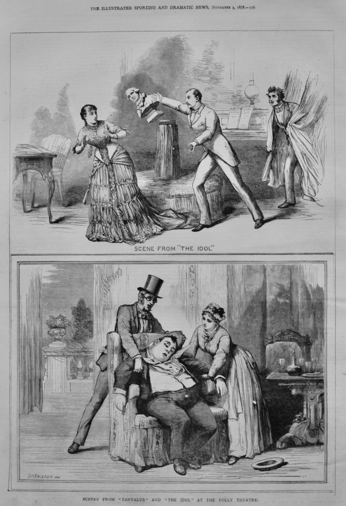 """Scenes from """"Tantalus"""" and """"The Idol"""" at the Folly Theatre.  1878."""