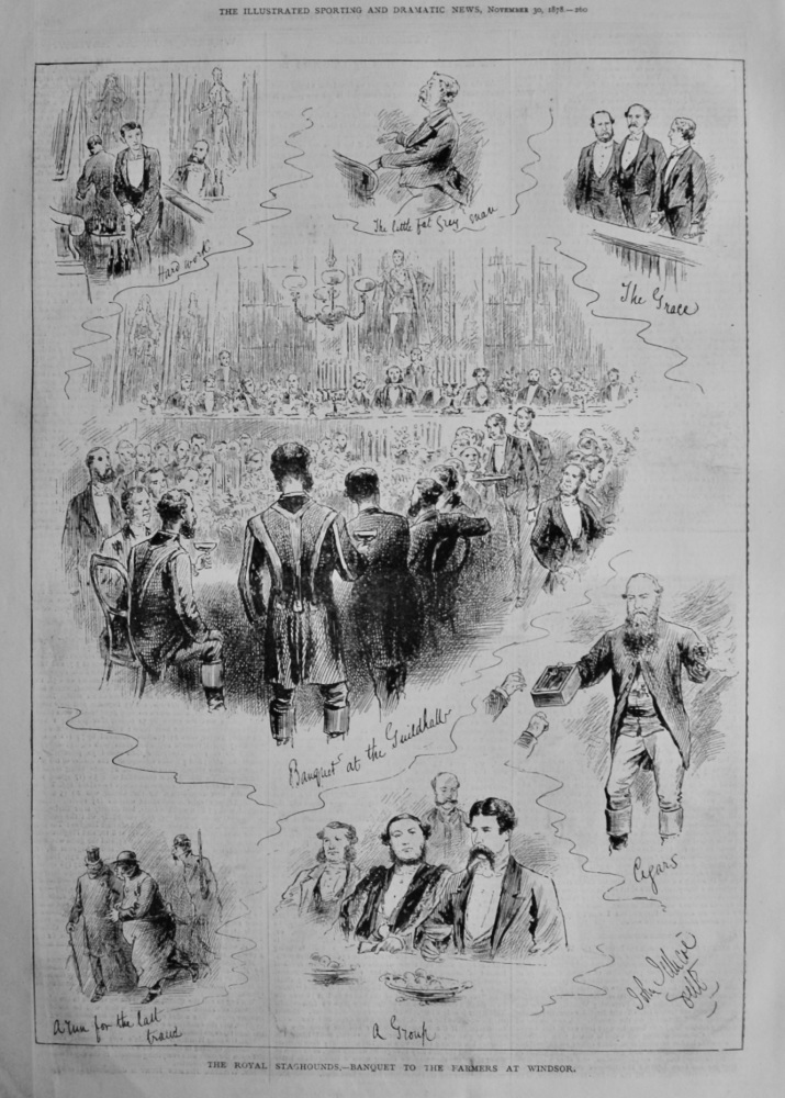 The Royal Staghounds.- Banquet to the Farmers at Windsor.  1878.
