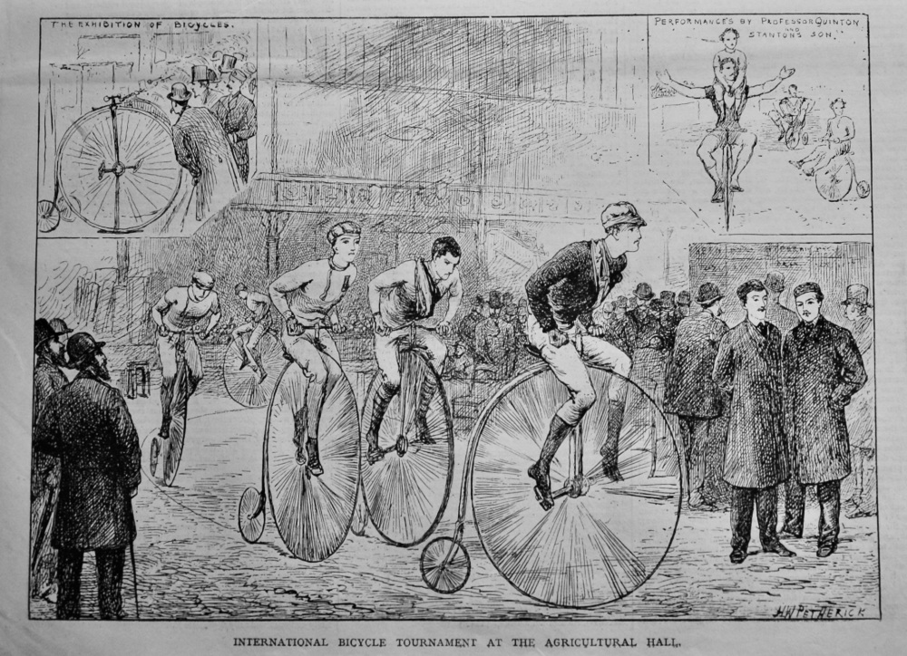 International Bicycle Tournament at the Agricultural Hall.  1878.