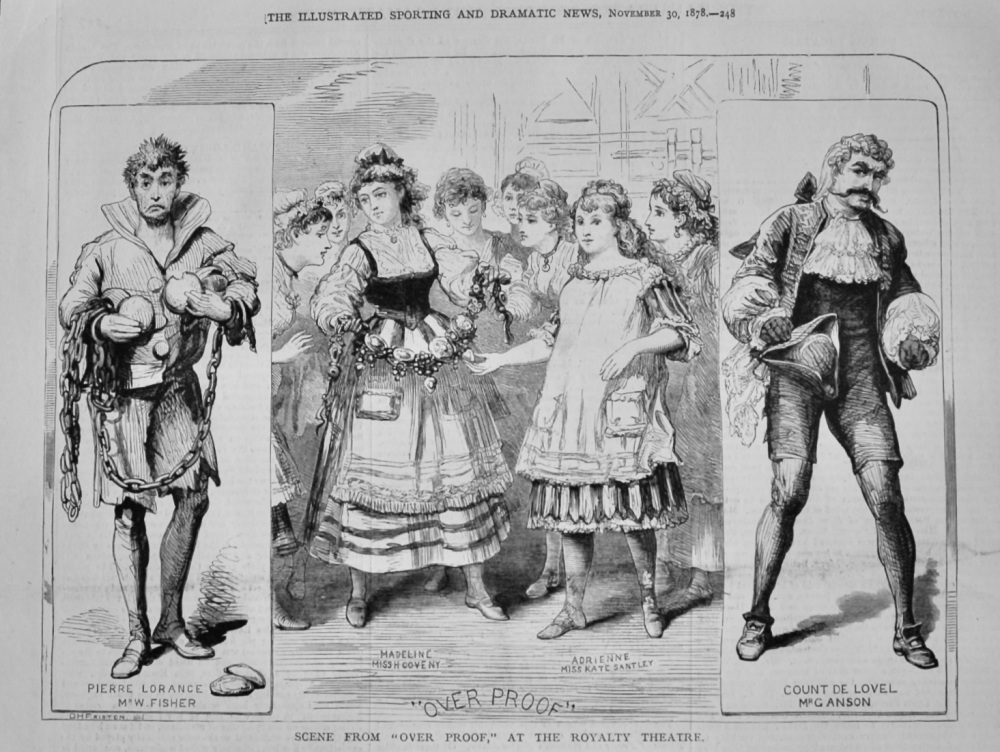 """Scene from """"Over Proof,"""" at the Royalty Theatre.  1878."""