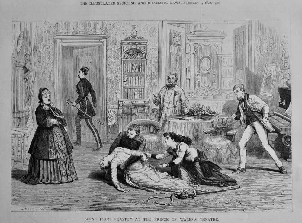 "Scene from ""Caste"" at the Prince of Wales's Theatre.  1879."