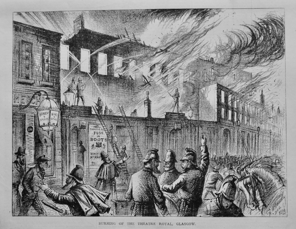 Burning of the Theatre Royal, Glasgow.  1879.