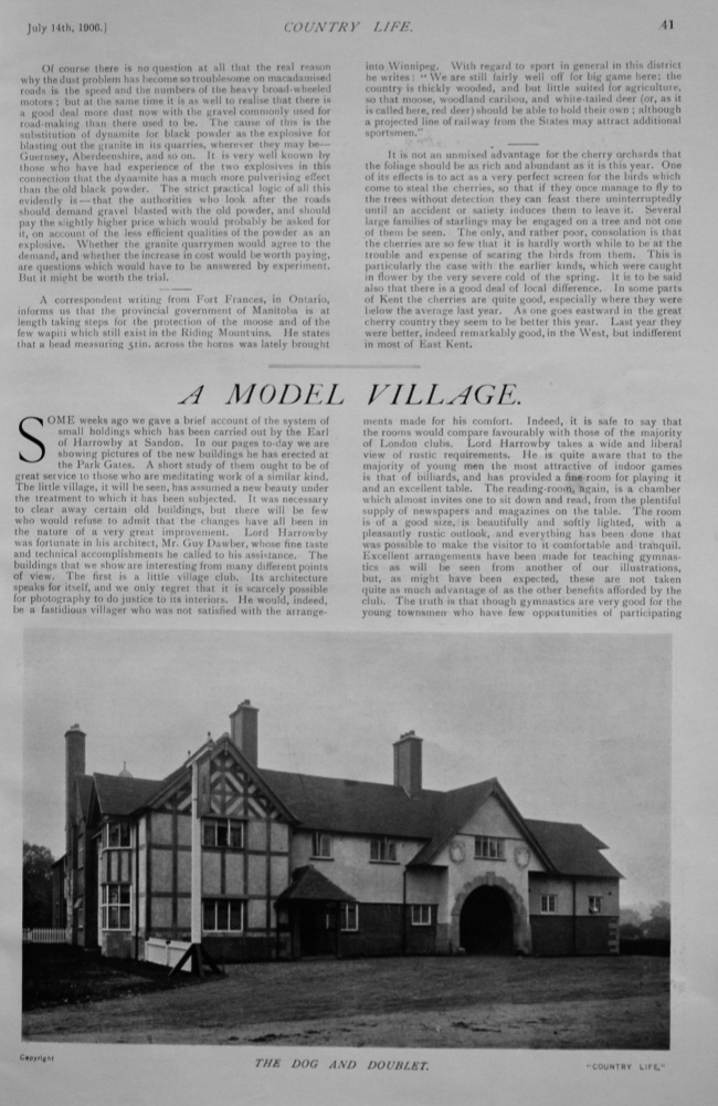 A Model Village. (Carries out by the Earl of Harrowby at Sandon.)  1906.