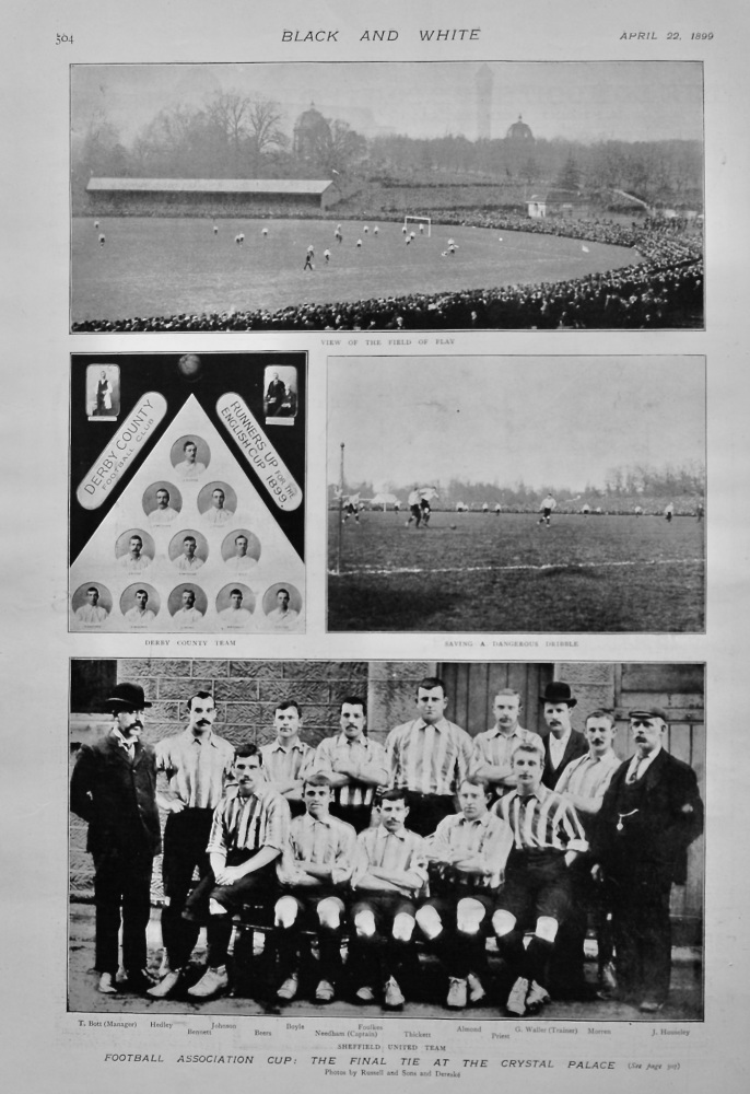 Football Association Cup :  The Final Tie at the Crystal Palace. 1899.  (Sheffield United v. Derby County).