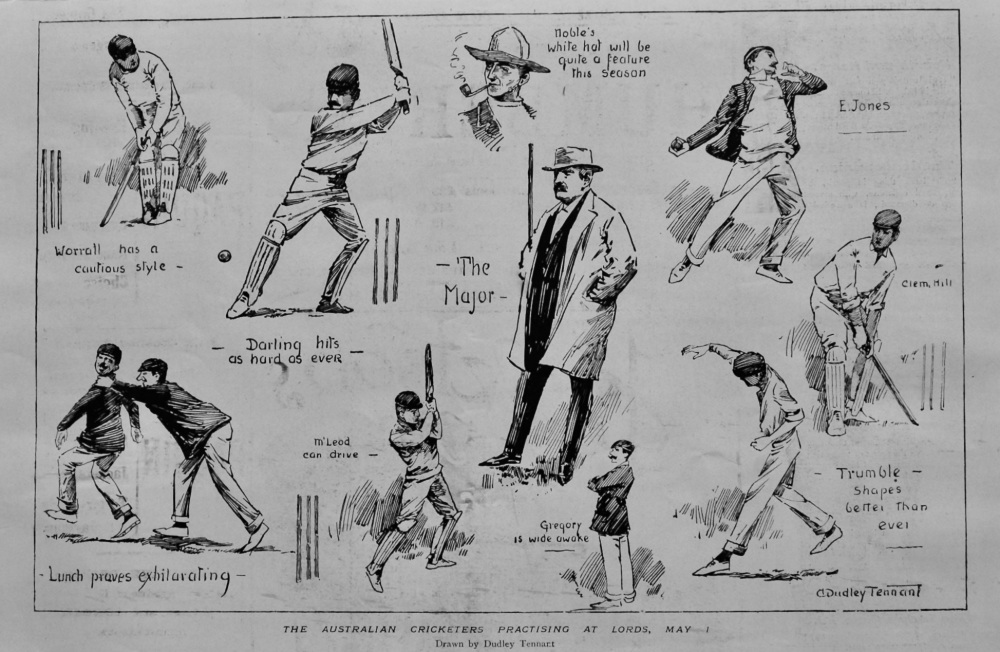 Australian Cricketers Practicing at Lords,  May 1st 1899.