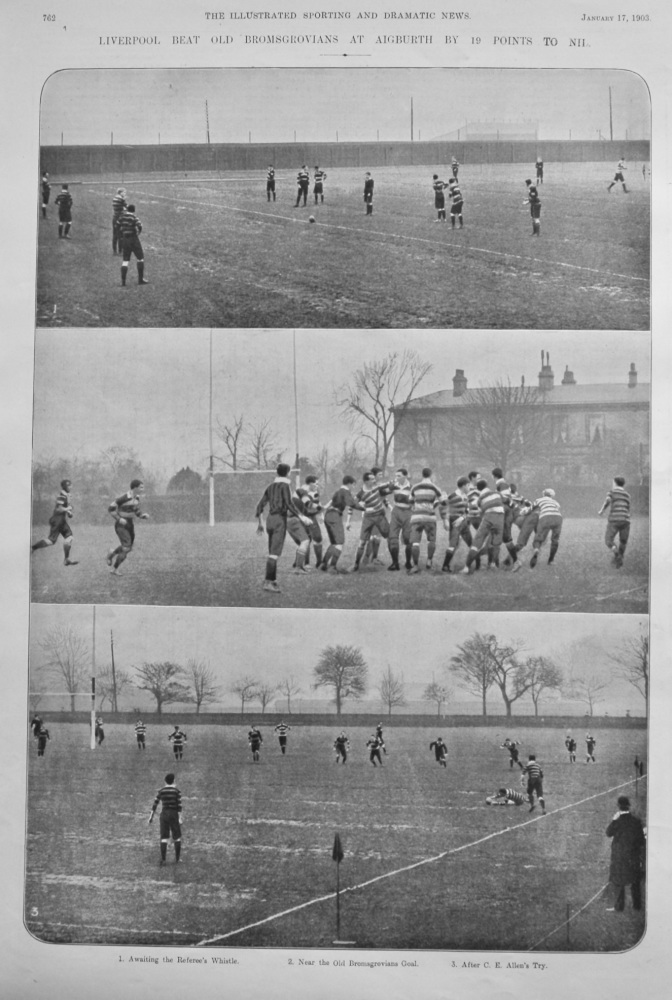 Liverpool Beat Old Bromsgrovians at Aigburth by 19 Points to Nil. 1903. (Rugby)