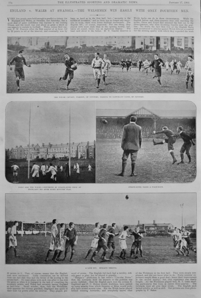 England v. Wales at Swansea.- The Welshmen win easily with only Fourteen Men.  1903 (Rugby)