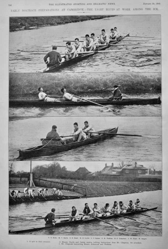 Early Boatrace Preparations at Cambridge - The Light Blues at Work among the Ice. 1903.