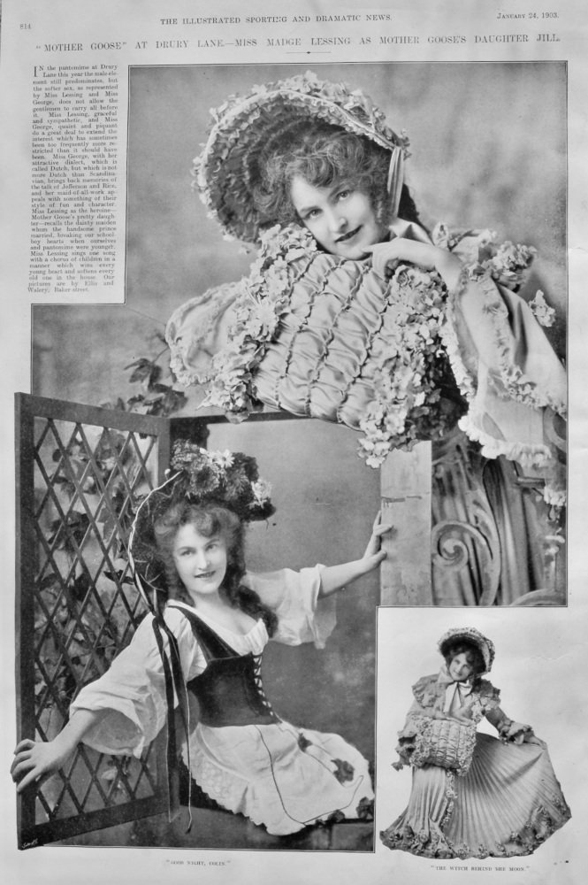 """Mother Goose"" at Drury Lane.- Miss Madge Lessing as Mother Goose's Daughter Jill.  1903."