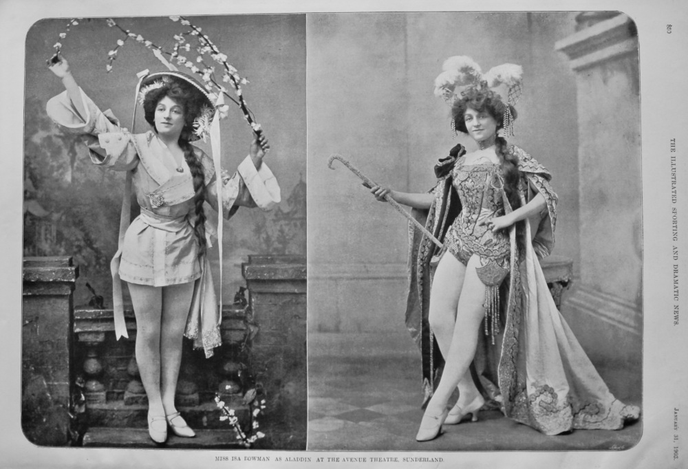 Miss Isa Bowman as Aladdin at the Avenue Theatre, Sunderland.  1903.