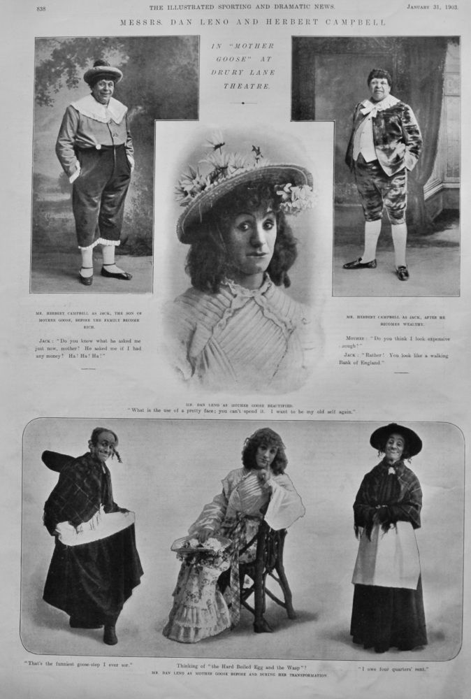 "Messrs. Dan Leno and Herbert Campbell in ""Mother Goose"" at Drury Lane Theatre.  1903."