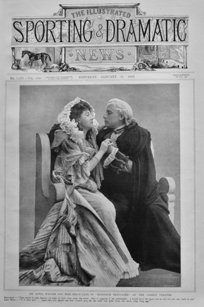 "Mr. Lewis Waller and Miss Grace Lane in ""Monsieur Beaucaire,"" at the Comedy Theatre.  1903."