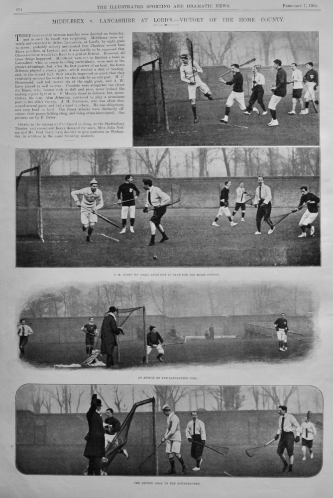 Middlesex v. Lancashire at Lord's.- Victory of the Home County. 1903.  (Lacrosse).