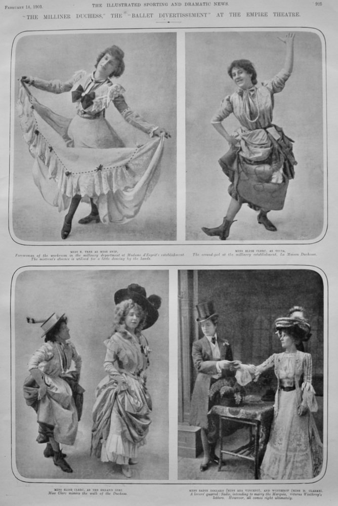 """'The Milliner Duchess,"""" the """"Ballet Divertissement"""" at the Empire Theatre.  1903."""