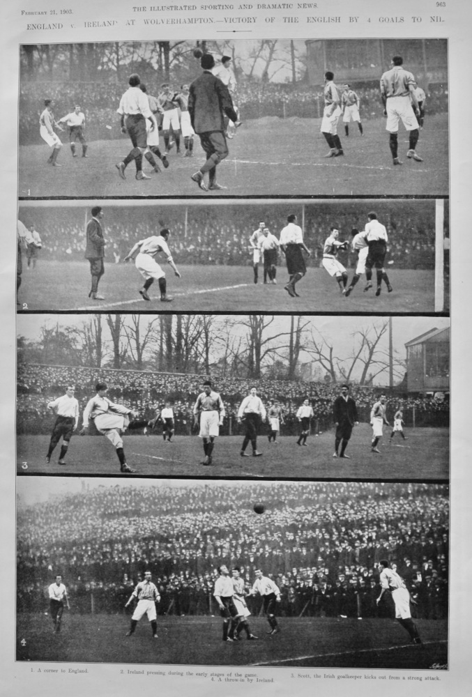 England v. Ireland at Wolverhampton.- Victory of the English by 4 Goals to Nil.  1903.
