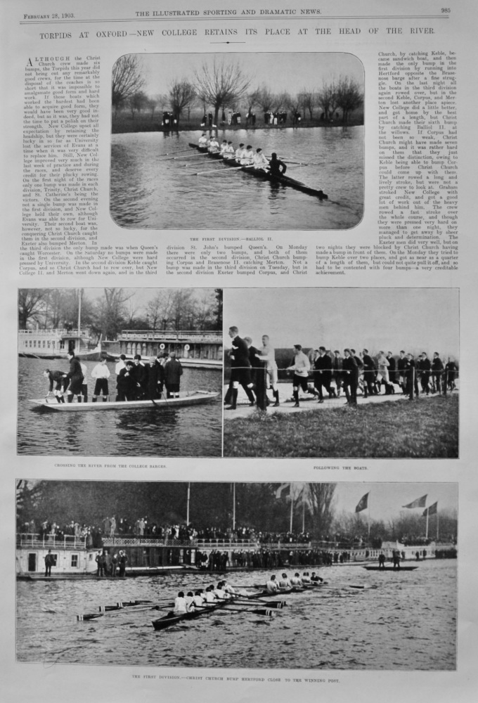 Torpids at Oxford- New College Retains its place at the Head of the River.   1903. (Rowing)