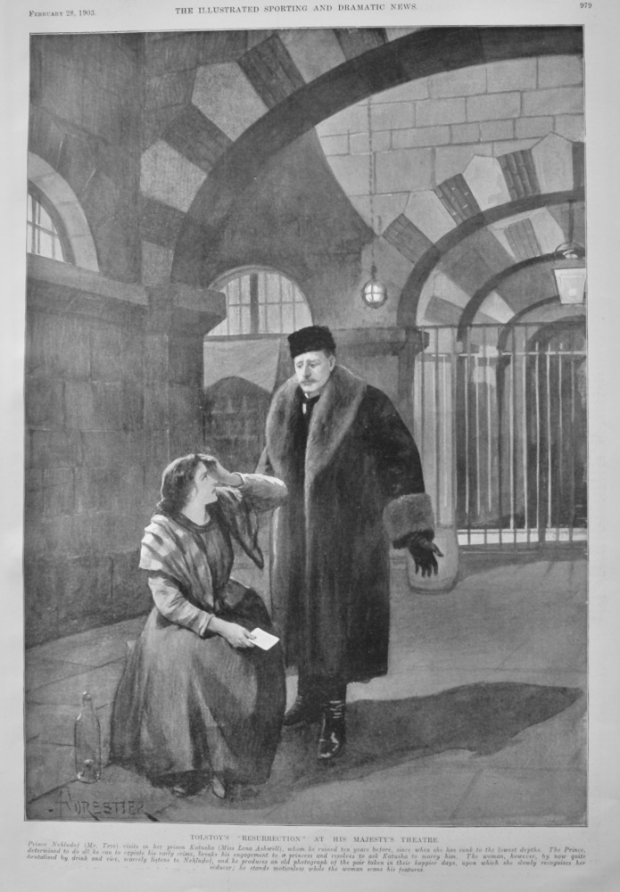 """Tolstoy's """"Resurrection"""" at His Majesty's Theatre.  1903."""