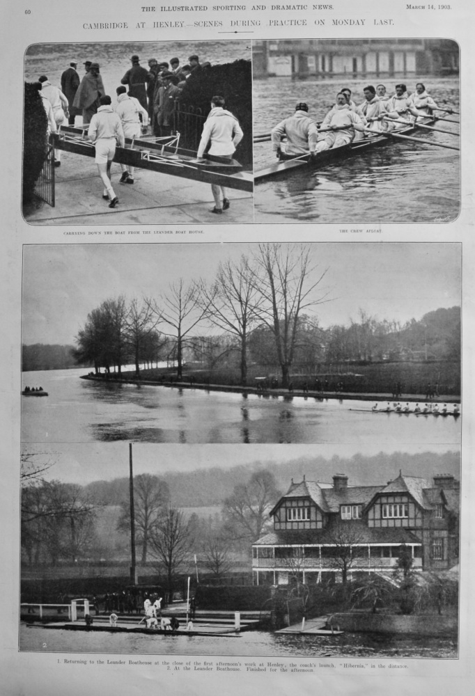 Cambridge at Henley.- Scenes during Practice on Monday Last.  (Rowing).  1903.