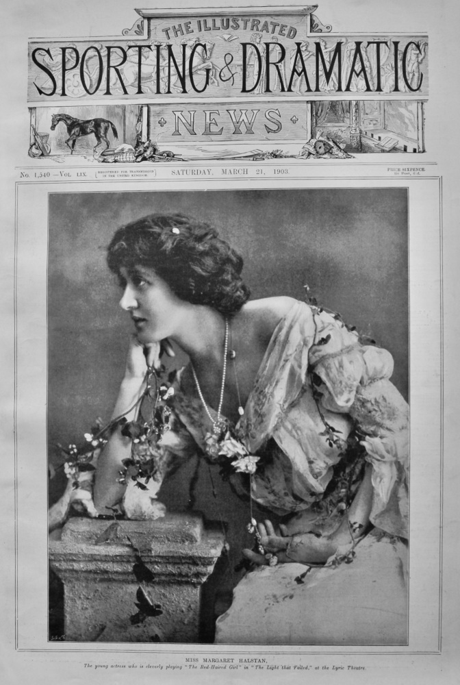 """Miss Margaret Halstan, the young actress who is cleverly playing """"The Red-Haired Girl"""" in """"The Light that Failed,"""" at the lyric Theatre.  1903."""