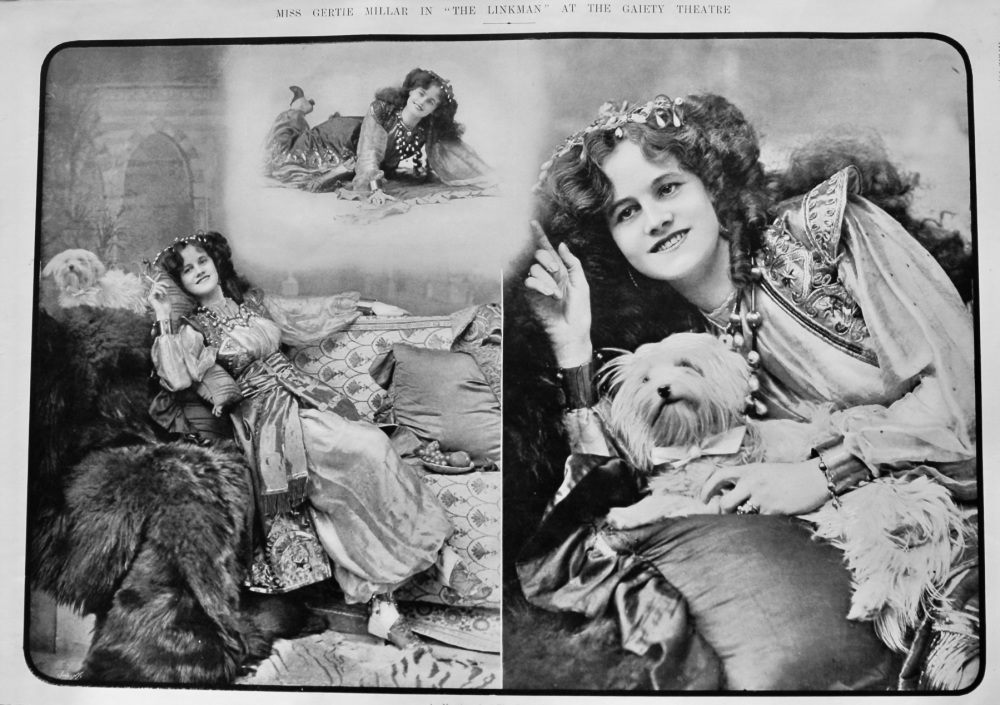 """Miss Gertie Miller in """"The Linkman"""" at the Gaiety Theatre.  1903."""