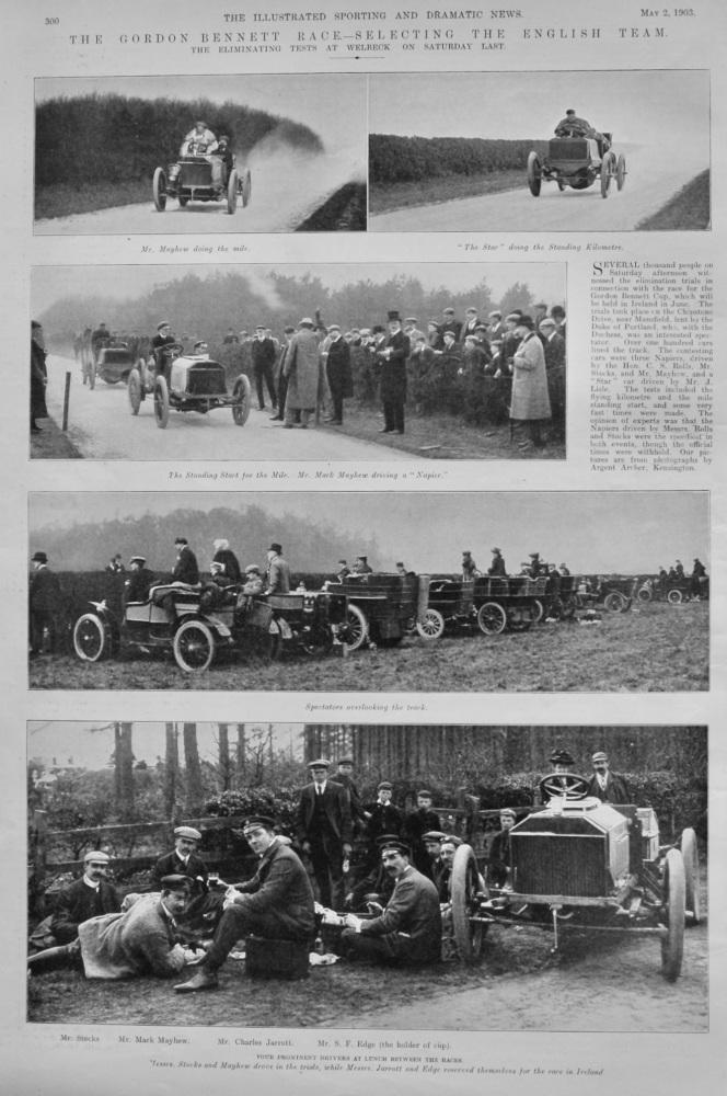 The Gordon Bennett Race.- Selecting the English Team. 1903.