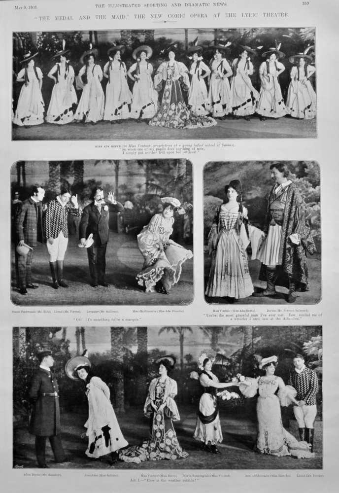 """""""The Medal and the Maid,"""" the New Comic Opera at the Lyric Theatre.  1903."""