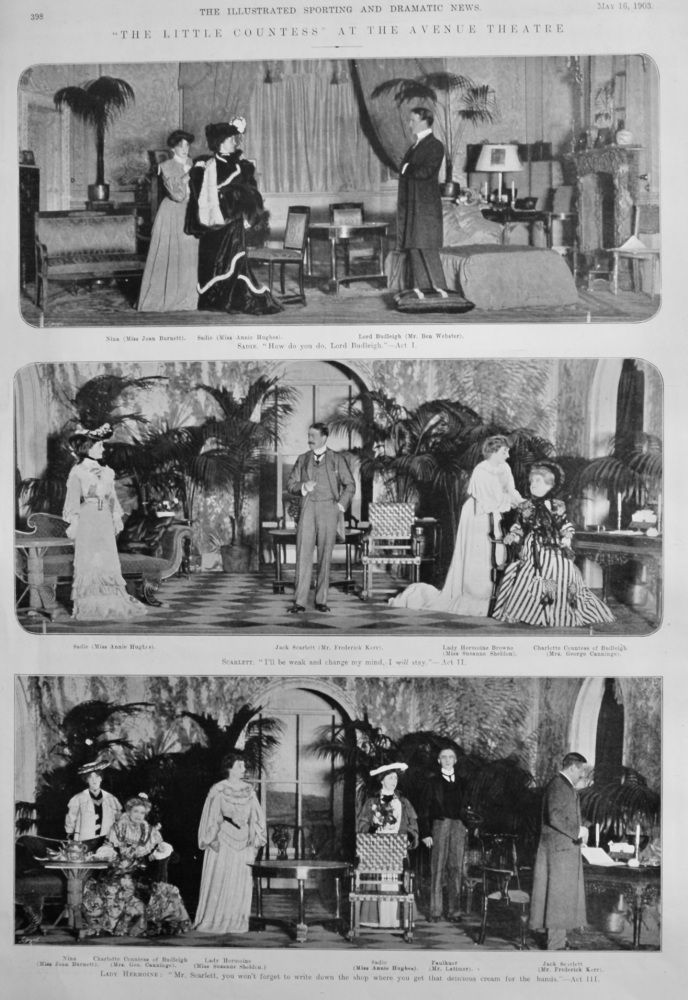 """""""The Little Countess"""" at the Avenue Theatre.  1903."""
